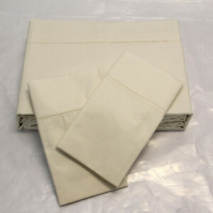Bellino King sheet set Flat fitted 2 pillowcases 100% Italian cotton Ivory