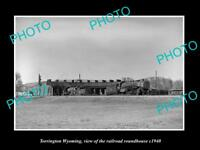 OLD LARGE HISTORIC PHOTO OF TORRINGTON WYOMING, THE RAILROAD ROUNDHOUSE c1940
