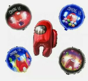 5pcs Among Us Foil Birthday Party Balloons Supplies Decorations
