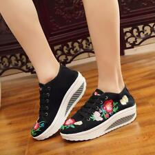 Womens Lace up Wedge Heel Platform Sneakers Embroidery Flower Casual Shoes JJ