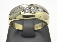Gold Ring Anillo Bague Goldring 585 bicolor Edelstein Brillanten Diamanten 14 kt