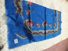 Collectible Ladies Scarf Signed Glentex 100% Acrylic Japan Royal Blue Floral Wow