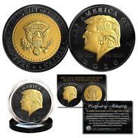 Donald Trump 2020 Keep America Great BLACK RUTHENIUM & 24K GOLD Tribute Coin COA