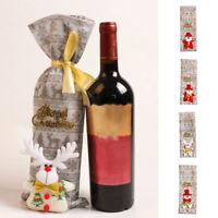 Eg _ Noël Rouge Vin Bouteille Sac Housse Bonhomme de Neige Père Fête Décor Fad