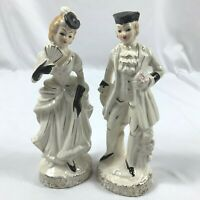 """VTG Set of 2 Colonial Man and Woman Figurines Ivory Color Gold Accents 8.5"""""""
