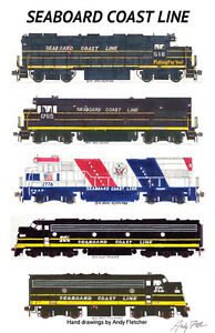 "Seaboard Coast Line Locomotives 11""x17"" Railroad Poster by Andy Fletcher signed"