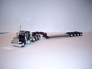 DCP FIRST GEAR 1/64 BLACK CHERRY TRI-AXLE PETE 389 DAY CAB LOWBOY WITH FLIP AXLE