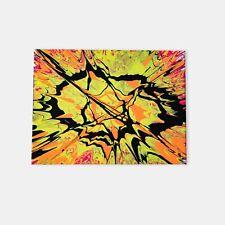 Acrylic Abstract Canvas Wall Art 12x16in Glossy finish yellow orange black neon