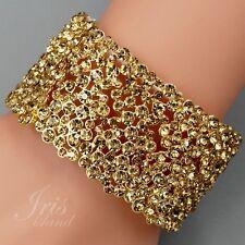 18K Gold Plated Topaz Crystal Rhinestone Wedding Bangle Cuff Stretch Bracelet 63