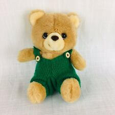 """Vintage Applause Corduroy Teddy Bear  9"""" Plush Removable Green Overalls Tan CUTE"""