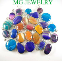 Multi Color Lace Onyx Gemstone 925 sterling silver Plated wholesale lot pendants