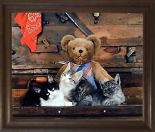 Cute Teddy Bear and Japanese Cats Funny Kids Room Wall Art Framed Picture 19x23