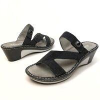 Alegria Loti Black Shimmer Leather Sandals Lot-699 Sz 39-8.5 / 9 NWOB Wedge (11