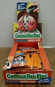 Garbage Pail Kids Stickers Empty 9th Series Display Box With Some Wrappers/1987