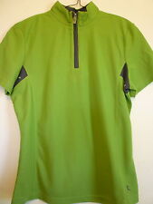 New Danskin womens S 4 6 green sheer athletic workout zipper v-neck shirt top