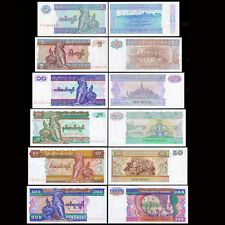 Myanmar 1/5/10/20/50/100 Kyats -- 1 Pcs EACH , TOTAL 6 NOTE --- UNC CONDITION