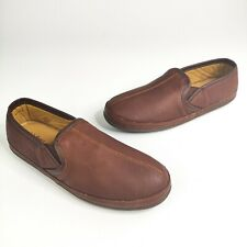 LL Bean Elkhide Slip on Slippers 14 M Brown Leather  272346 NEW Shoes