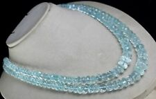 BIG 2 LINE 744CTS NATURAL BLUE AQUAMARINE FACETED ROUND BEADS NECKLACE