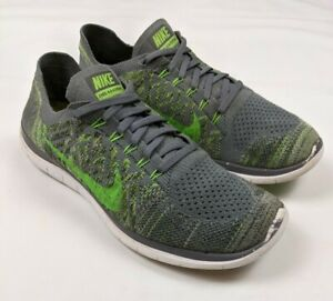 Nike Free 4.0 Flyknit Cool Gray Green Men's Running Shoes 717075-007 Size 11.5