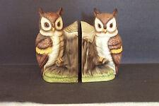 Vintage Japan Ceramic Great Horned Owl Bookends Fill w/ Sand