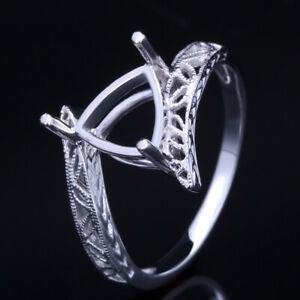 Sterling Silver 925 Vintage Antique Jewelry 7x7mm Trillion Empty Ring Setting