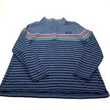 L.L. Bean Mens Blue Vintage Cotton Long Sleeve Striped Polo Shirt Size 2XL