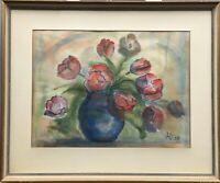 Stillleben mit Tulpen LO 1959 Hannover Gerahmtes Aquarell 52 x 63 cm
