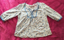 MARKS AND SPENCER BLUE SILK BLEND FLORAL SUMMER CASUAL TOP/BLOUSE SIZE 10 12 ♡♡♡