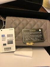 Chanel Le Boy Woc Gray Gold Crossbody Nwt