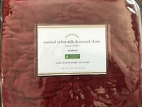 POTTERY BARN Standard Sham WASHED VELVET SILK DIAMOND PILLOW RUBY Christmas Red