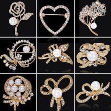 Charm Gold Pearl Crystal Rhinestone Heart Brooch Pin Wedding Bridal Lady Jewelry