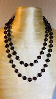 VTG Long Amethyst Glass Necklace Poured Rare Statement Piece French