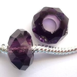 10 Crystal 14x9mm Large hole Facet beads Amethyst