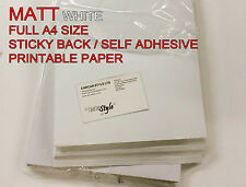 20x A4 White [MATT] Self Adhesive Sticker Paper Sheet Address Label UK