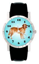 Golden Retriever Dog Mens Womens Genuine Leather Band Quartz Wrist Watch SA1985