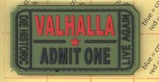 PVC GREEN VALHALLA Admit One Ticket Moral Patch Mad Skull Max Tactical ARMY b4