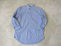 Peter Millar Button Up Shirt Adult Medium Blue Black Long Sleeve Casual Mens