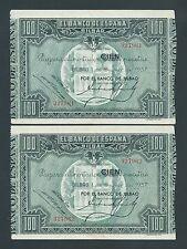 F.C. BANCO DE BILBAO , PAREJA CORRELATIVA 100 PESETAS 1937 , EBC .