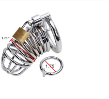 STAINLESS STEEL MALE CHASTITY DEVICE COCK CAGE WITH PAD LOCK AND KEY,UK SELLER !