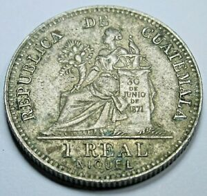 1912 Guatemala Silver 1 Reales Antique 1900's Guatemalan Old Currency Money Coin