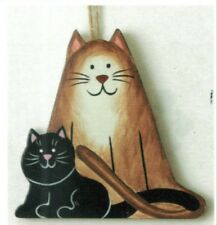 """4x3.5"""" Cats  Primitive Country Wood CAT Kitten Wall, Shelf Sitter, Magnetic Sign"""