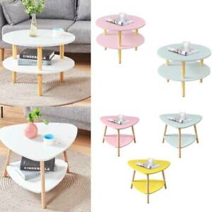 2 Tier Coffee Table Side Table End Table with Solid Wood Legs Home Living Room