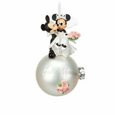 Disney World Land MICKEY & MINNIE Mouse JUST MARRIED Christmas Bulb Ornament NEW