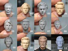 Unpainted 1/12 scale Female Male Head Sculpt Fit 6'' Figure Body