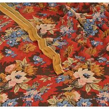Sanskriti Vintage Indian 100% Pure Georgette Silk Saree Red Printed Sari Craft