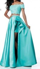 Sherri Hill Long Evening 2-piece Jade Gown With Hi-lo Slit Skirt 51857 Size 4
