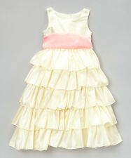 Cinderella Couture Ivory & Pink Tiered Bow Dress Girls Size 14 NEW Gorgeous!!