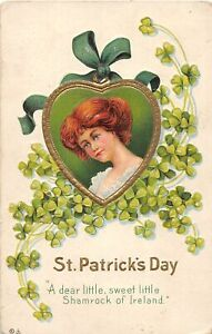 G36/ St Patrick's Day Holiday Postcard c1910 Pretty Woman Heart Clover 15