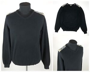 Men's BURBERRY London Nova Check Black Long Sleeve Sweater Pullover Size L/XL
