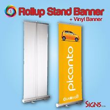 "NEW Retractable Pull Up Banner Stand 33"" WITH PRINTING 2-SET"